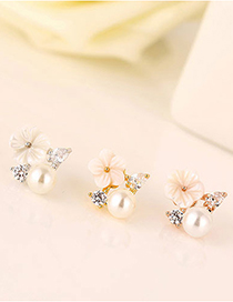 Fashion Rose Gold Color Shell Flower Micro Inlaid Zircon Pearl Earrings