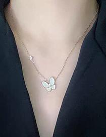 Fashion Gold Color Butterfly Titanium Opal Necklace