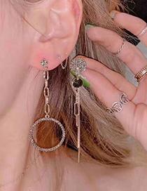 Fashion Gold Color Flash Diamond Asymmetric Metal Stud Earrings