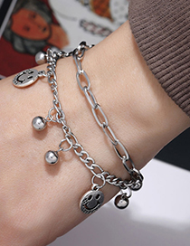 Fashion Silver Stainless Steel Smiley Face Bell Bracelet