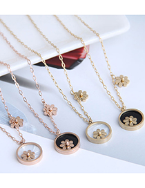 Fashion Black-rose Gold Flowers Titanium Steel Round Small Daisy Necklace