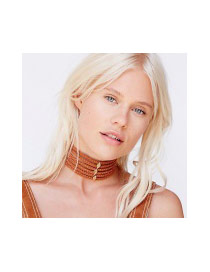 Exaggerated Black Metal Rhombus Decorated Hollow Out Multilayer Chocker