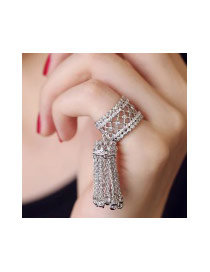 Fashion Silver Color Long Tassel Pendant Decorated Hollow Out Pure Color Ring