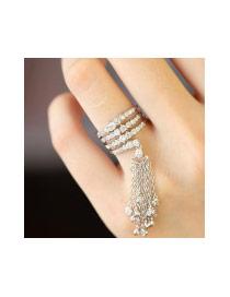 Fashion Silver Color Long Tassel Pendant Decorated Multi-color Pure Color Ring