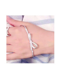 Fashion Silver Color Full Diamond Decorated Bowknot Shape Pure Color Bracelet