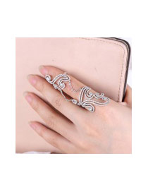 Fashion Silver Color Diamond Decorated Hollow Out Cloud Shape Pure Color Ring