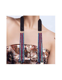Exaggerate Multi-color Round Shape Decorated Long Tassel Pure Color Necklace