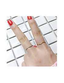 Temperament Silver Color Wave Shape Decorated Simple Tail Ring