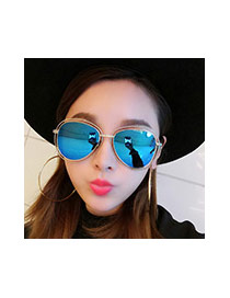 Sweet Silver Color Oval Shape Frame Decorated Pure Color Sunglass