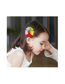 Fashion Red Grid Pattern Decorated Bowknot Design Simple Hair Clip
