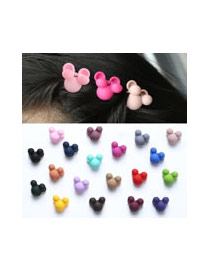 Cute Dark Plum Red Rabbit Ear Shape Decorated Pure Color Hair Clip