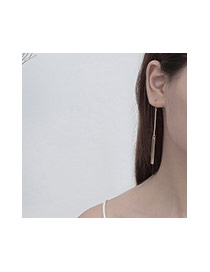 Fashion Silver Color Long Strip Pendant Decorated Simple Ling Chain Earrings