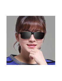 Personality Gray Hollow Out Decorated Simple Square Shape Design Sunglasses