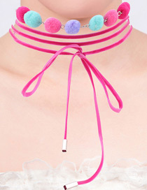 Lovely Pink Fuzzy Ball Decorated Simple Multilayer Choker