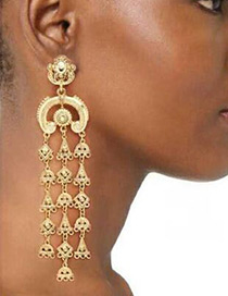 Trendy Gold Color Tassel Pendant Decorated Pure Color Simple Earrings