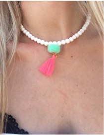 Retro Red+white Tassel&fuzzy Ball Decorated Simple Short Chain Necklace