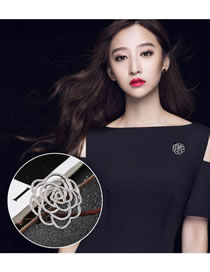Fashion Silver Color Flower Decorated Pure Color Hollow Out Brooch