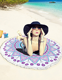 Fashion Light Blue Color-matching Decorated Simple Tassel Beach Simple Scarf