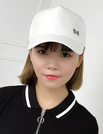 Fashion Beige Letter M Pattern Decorated Pure Color Cap