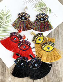 Fashion Color Alloy Rice Bead Resin With Large Eyes And Tassel Earrings