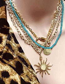 Fashion Gold Locking Flame Multi-layer Necklace  Alloy