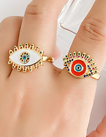 Fashion Red Copper Inlay Zircon Eye Ring