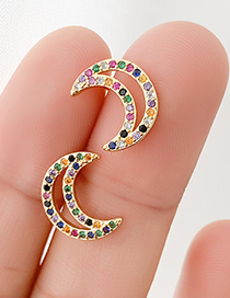 Fashion Gold Copper Inlaid Zircon Crescent Earrings