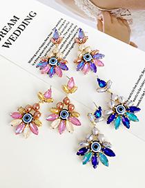 Fashion Color Alloy Diamond Eye Studs