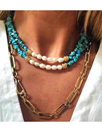 Fashion Colored Crystal Stone Alloy Natural Stone Pearl Necklace