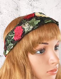 Fashion Pink Greenish Lace Embroidered Hair Band