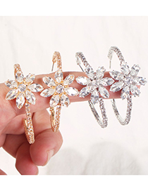 Fashion Gold Copper Inlaid Zircon C-shaped Earrings