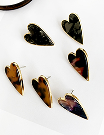 Fashion Black Alloy Resin Love Earrings