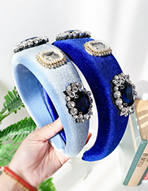 Fashion Blue Gold Velvet Diamond Geometric Headband