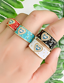 Fashion White Copper Inlay Zircon Love Eye Ring