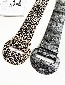 Cinturón De Gamuza Con Estampado Animal Y Forma Semicircular