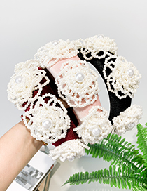 Fashion Red Wine Cloth Pearl Flower Headband