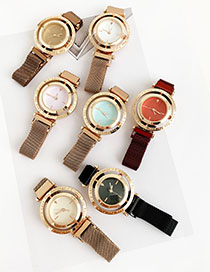 Fashion Brown Alloy Letter Rotatable Dial Watch