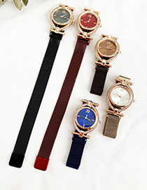 Fashion Red Wine Alloy Diamond-enhanced Dialable Watch