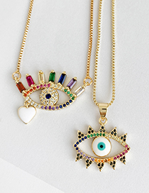 Fashion Gold Copper Inlay Zircon Eye Love Necklace