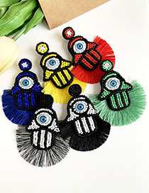 Fashion White + Black Non-woven Rice Beads Palm Eye Cotton Tassel Earrings