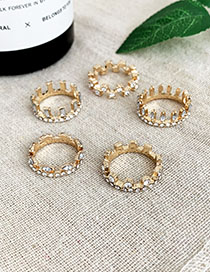 Fashion Gold Alloy Horizontal Row Of Drop-shaped Diamond Ring