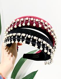 Fashion Red Wine Fabric Rhinestone Pearl Tassel Headband