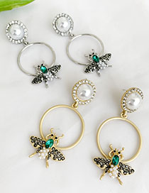 Fashion Golden Alloy Bee Stud Earrings With Diamonds