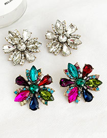 Fashion Color Alloy Diamond Flower Stud Earrings