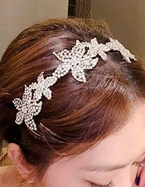 Fashion Silver Snowflake Full Diamond Hair Hoop