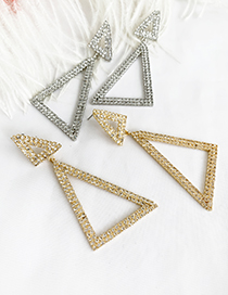 Fashion Golden Alloy Studded Triangle Stud Earrings