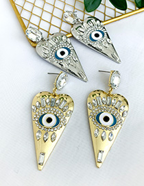 Fashion Golden Alloy Diamond Earrings With Oil Drop