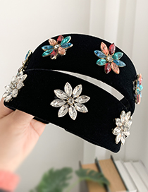Fashion Color Alloy Fabric Diamond Water Drop Flower Headband