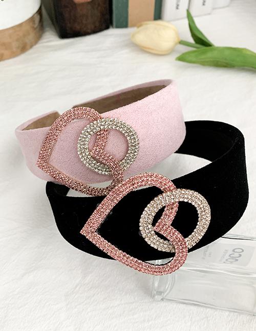 Fashion Pink Love Diamond Velvet Headband With Alloy