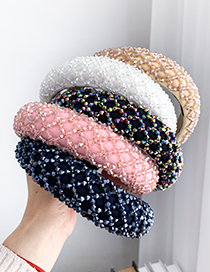 Fashion Color Resin Bead Mesh Sponge Headband